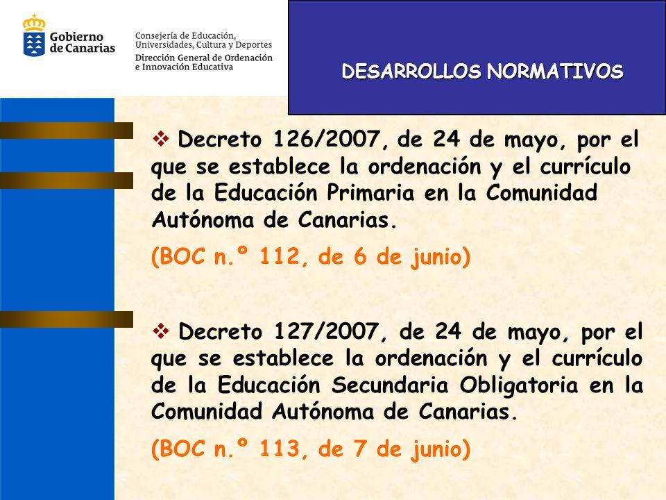 DESARROLLOS NORMATIVOS DESARROLLOS NORMATIVOS Decreto 126/2007, de 24 de mayo, por el que se establece la ordenación y el currículo de la Educación Pr