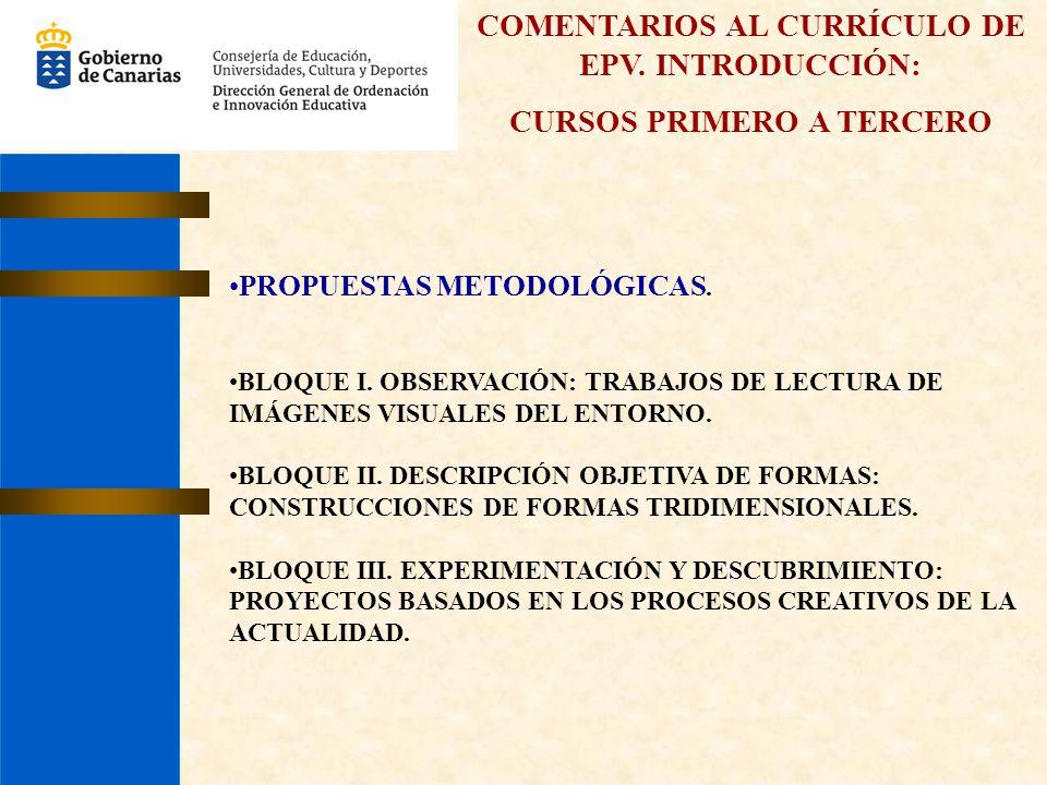 COMENTARIOS AL CURRÍCULO DE EPV. INTRODUCCIÓN: CURSOS PRIMERO A TERCERO PROPUESTAS METODOLÓGICAS. BLOQUE I. OBSERVACIÓN: TRABAJOS DE LECTURA DE IMÁGEN