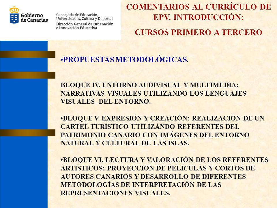 COMENTARIOS AL CURRÍCULO DE EPV. INTRODUCCIÓN: CURSOS PRIMERO A TERCERO PROPUESTAS METODOLÓGICAS. BLOQUE IV. ENTORNO AUDIVISUAL Y MULTIMEDIA: NARRATIV