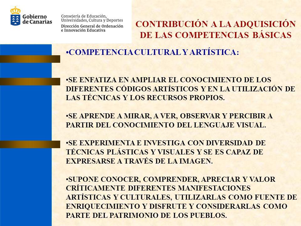 CONTRIBUCIÓN A LA ADQUISICIÓN DE LAS COMPETENCIAS BÁSICAS COMPETENCIA CULTURAL Y ARTÍSTICA: SE ENFATIZA EN AMPLIAR EL CONOCIMIENTO DE LOS DIFERENTES C