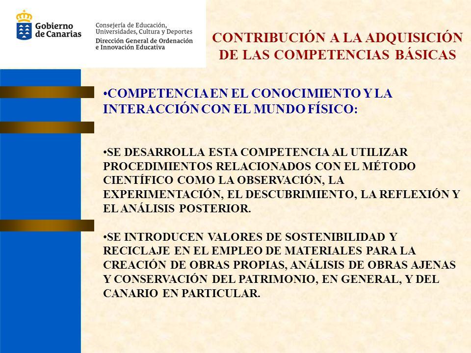 CONTRIBUCIÓN A LA ADQUISICIÓN DE LAS COMPETENCIAS BÁSICAS COMPETENCIA EN EL CONOCIMIENTO Y LA INTERACCIÓN CON EL MUNDO FÍSICO: SE DESARROLLA ESTA COMP