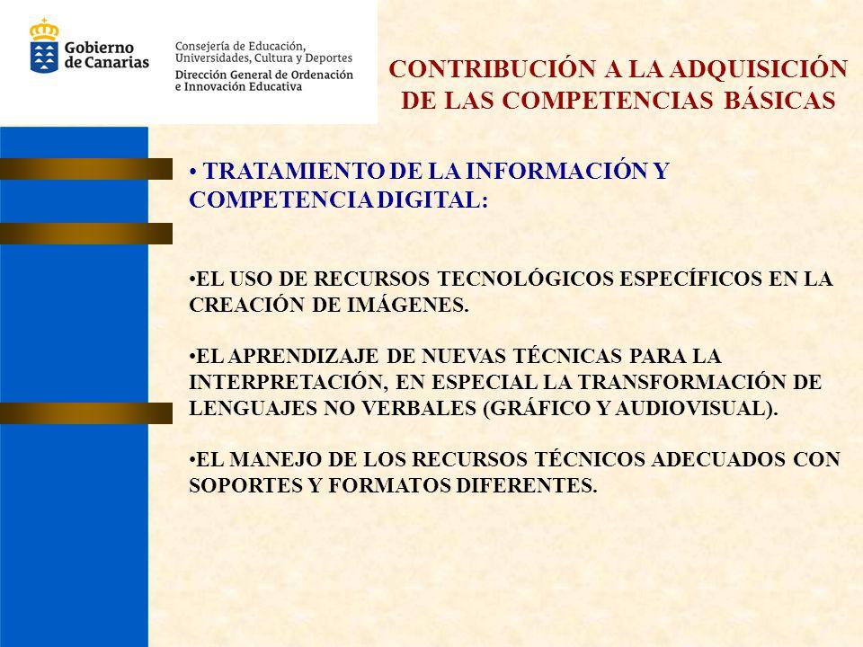 CONTRIBUCIÓN A LA ADQUISICIÓN DE LAS COMPETENCIAS BÁSICAS TRATAMIENTO DE LA INFORMACIÓN Y COMPETENCIA DIGITAL: EL USO DE RECURSOS TECNOLÓGICOS ESPECÍF