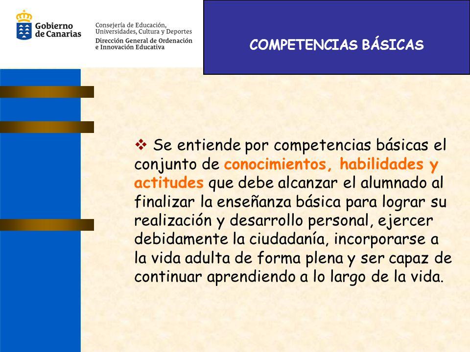 COMPETENCIAS BÁSICAS Se entiende por competencias básicas el conjunto de conocimientos, habilidades y actitudes que debe alcanzar el alumnado al final