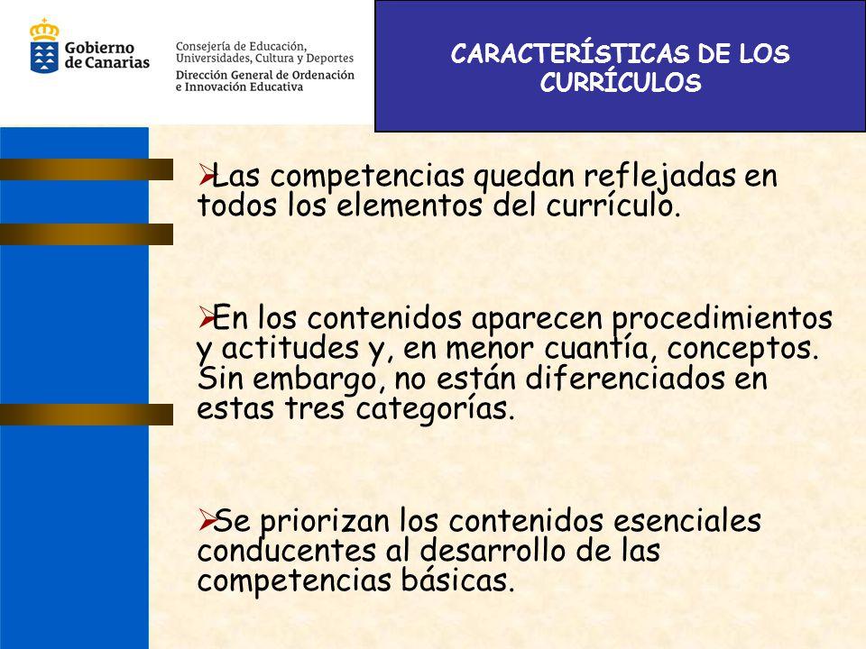 CARACTERÍSTICAS DE LOS CURRÍCULOS Las competencias quedan reflejadas en todos los elementos del currículo. En los contenidos aparecen procedimientos y