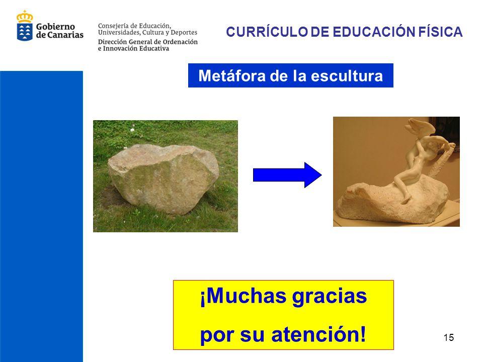 15 CURRÍCULO DE EDUCACIÓN FÍSICA ¡Muchas gracias por su atención! Metáfora de la escultura