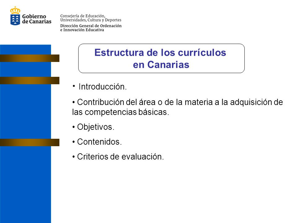 Introducción. Contribución del área o de la materia a la adquisición de las competencias básicas. Objetivos. Contenidos. Criterios de evaluación. Estr