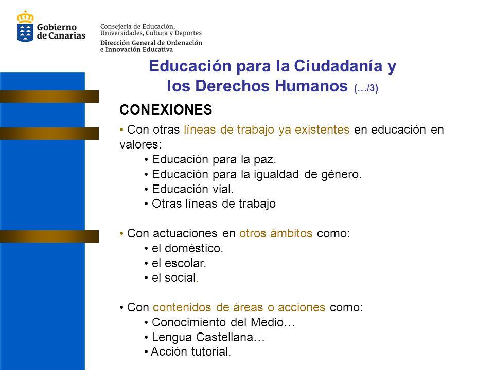 CONEXIONES Con otras líneas de trabajo ya existentes en educación en valores: Educación para la paz. Educación para la igualdad de género. Educación v
