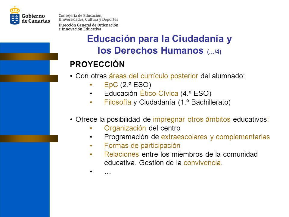 PROYECCIÓN Con otras áreas del currículo posterior del alumnado: EpC (2.º ESO) Educación Ético-Cívica (4.º ESO) Filosofía y Ciudadanía (1.º Bachillera