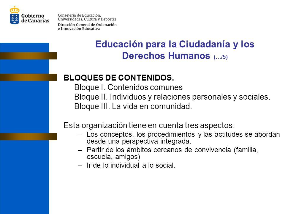 BLOQUES DE CONTENIDOS. Bloque I. Contenidos comunes Bloque II. Individuos y relaciones personales y sociales. Bloque III. La vida en comunidad. Esta o