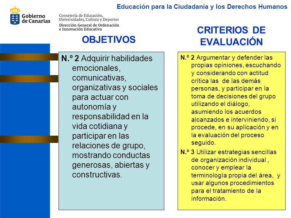 CRITERIOS DE EVALUACIÓN N.º 2 Adquirir habilidades emocionales, comunicativas, organizativas y sociales para actuar con autonomía y responsabilidad en