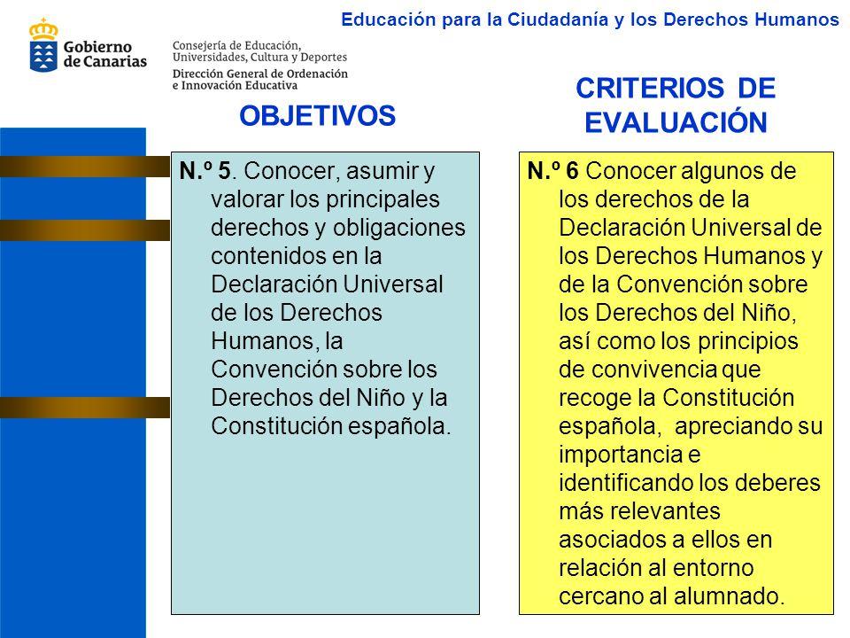 CRITERIOS DE EVALUACIÓN N.º 5. Conocer, asumir y valorar los principales derechos y obligaciones contenidos en la Declaración Universal de los Derecho