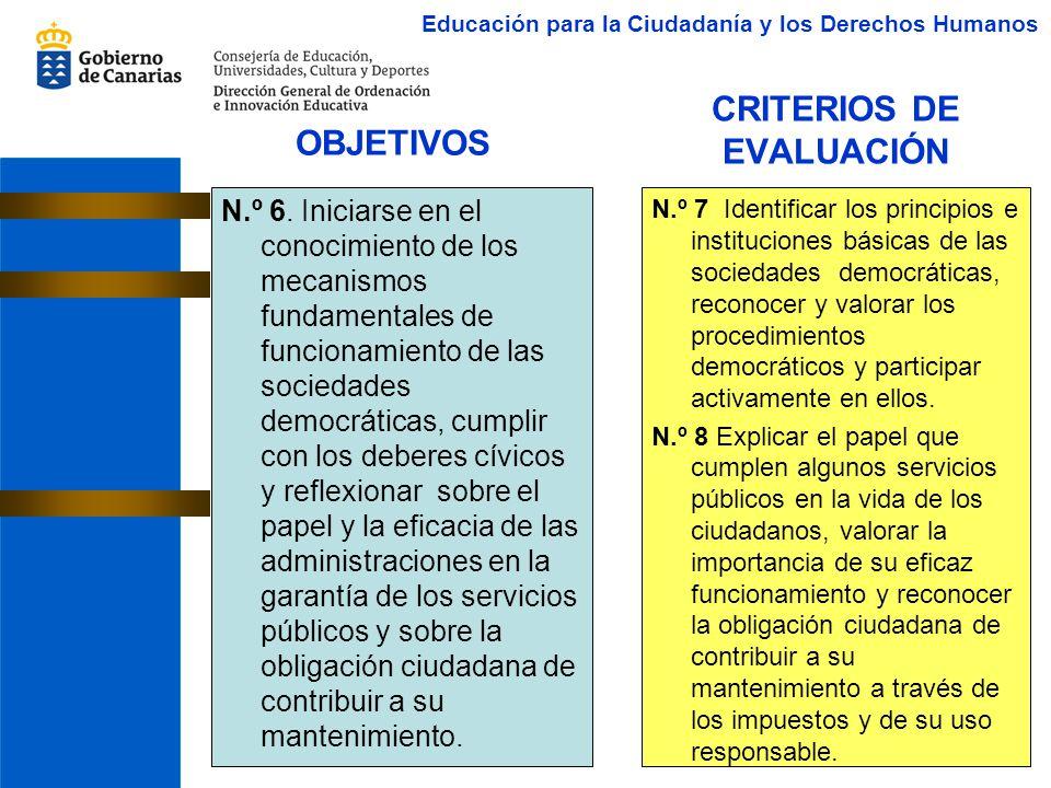 CRITERIOS DE EVALUACIÓN N.º 6. Iniciarse en el conocimiento de los mecanismos fundamentales de funcionamiento de las sociedades democráticas, cumplir