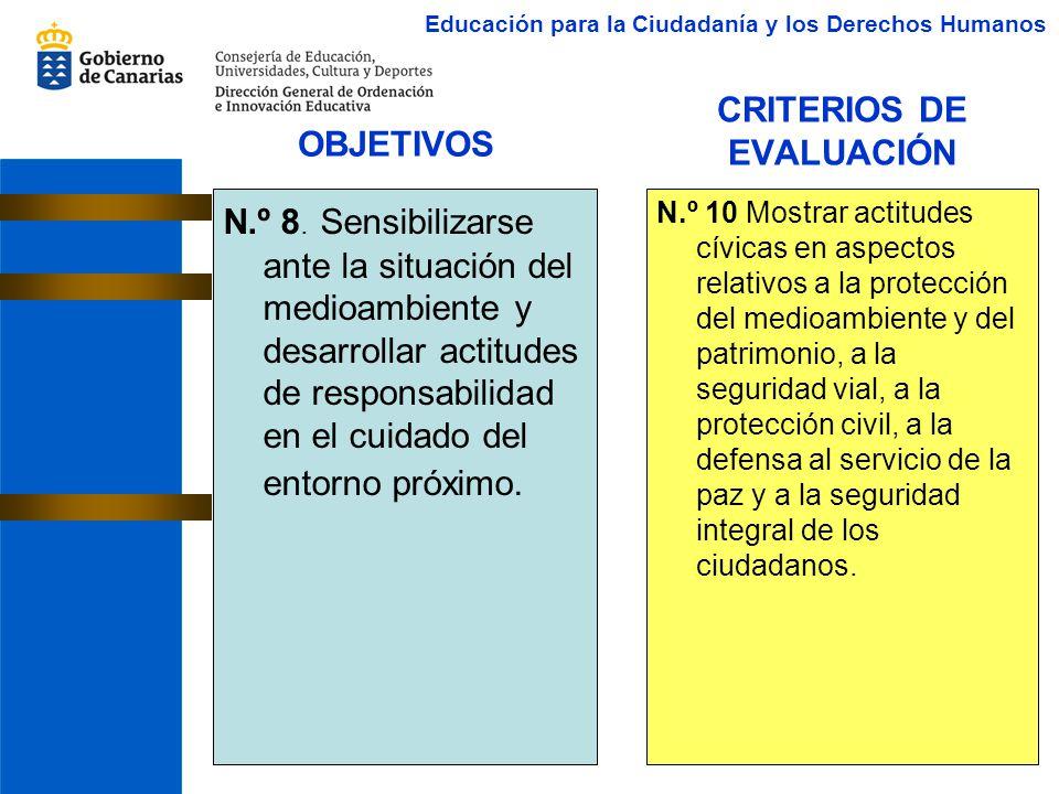 CRITERIOS DE EVALUACIÓN N.º 8. Sensibilizarse ante la situación del medioambiente y desarrollar actitudes de responsabilidad en el cuidado del entorno