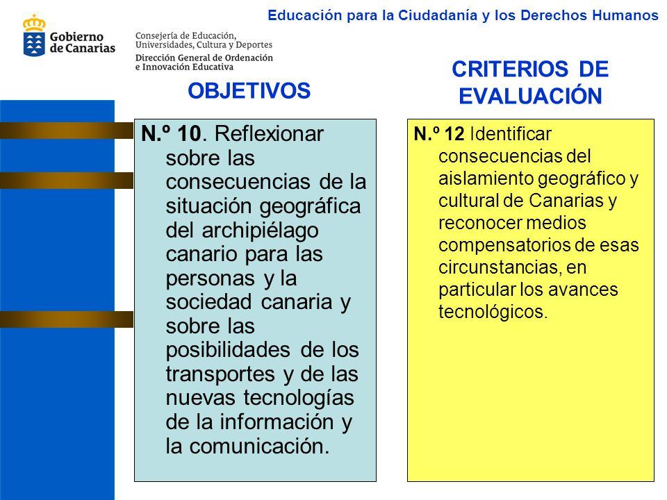 CRITERIOS DE EVALUACIÓN N.º 10. Reflexionar sobre las consecuencias de la situación geográfica del archipiélago canario para las personas y la socieda