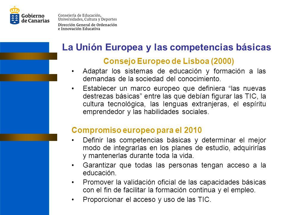 La Unión Europea y las competencias básicas Consejo Europeo de Lisboa (2000) Adaptar los sistemas de educación y formación a las demandas de la socied