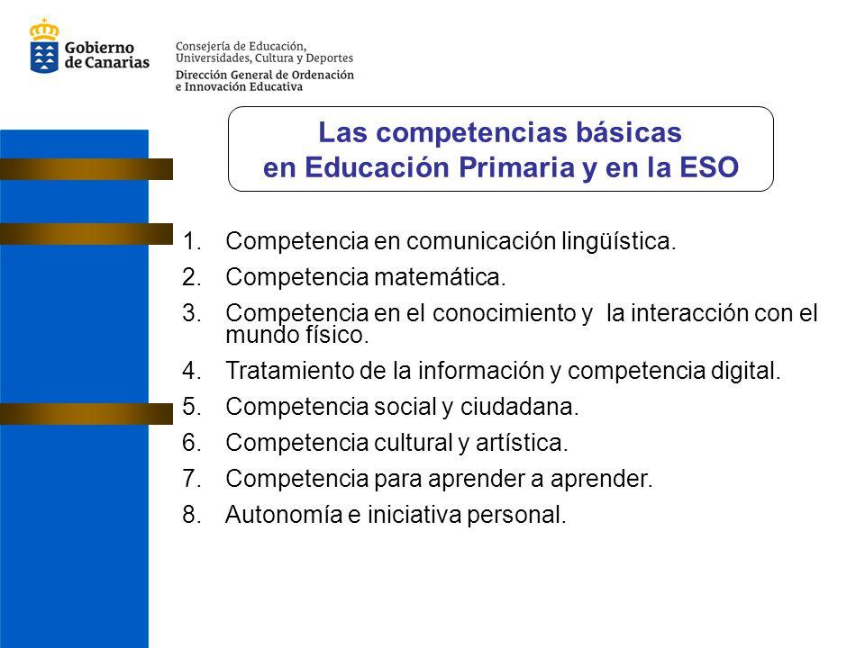 1.Competencia en comunicación lingüística. 2.Competencia matemática. 3.Competencia en el conocimiento y la interacción con el mundo físico. 4.Tratamie