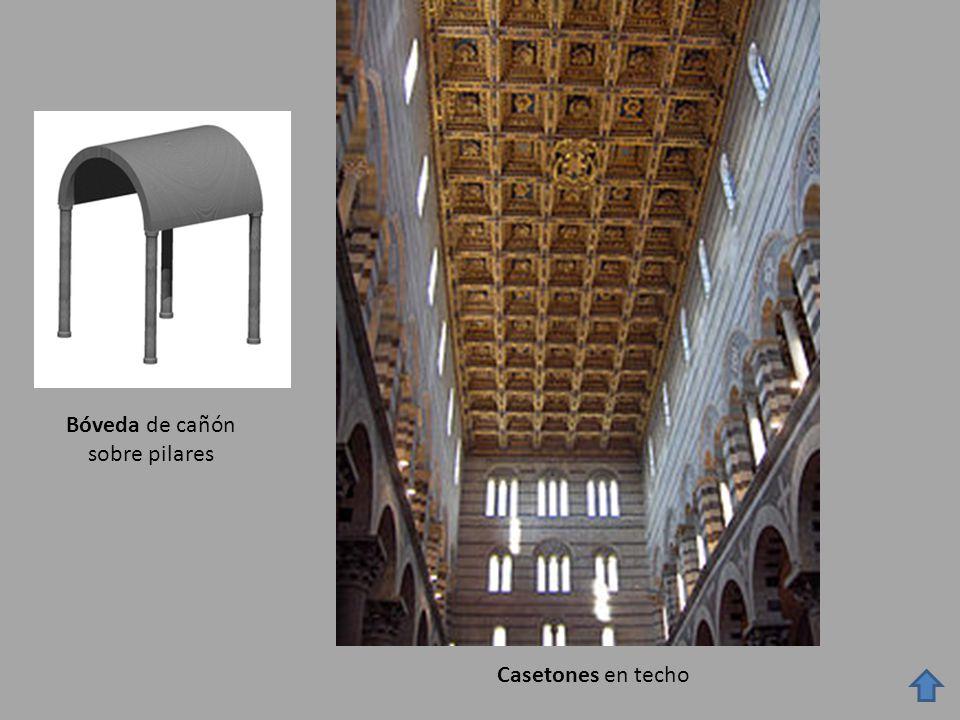 Bóveda de cañón sobre pilares Casetones en techo