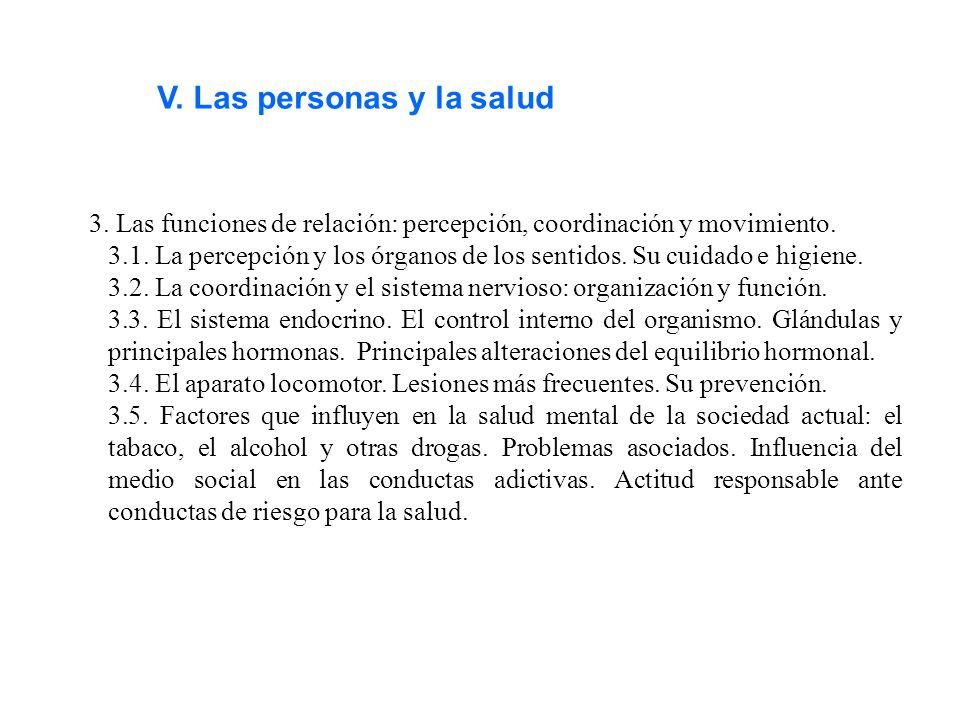 V. Las personas y la salud 3. Las funciones de relación: percepción, coordinación y movimiento. 3.1. La percepción y los órganos de los sentidos. Su c