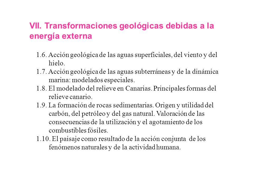 VII. Transformaciones geológicas debidas a la energía externa 1.6. Acción geológica de las aguas superficiales, del viento y del hielo. 1.7. Acción ge