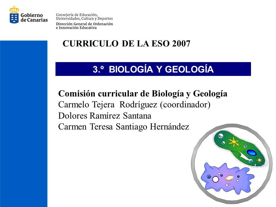 CURRÍCULO DE LA ESO 2007 3.º BIOLOGÍA Y GEOLOGÍA Comisión curricular de Biología y Geología Carmelo Tejera Rodríguez (coordinador) Dolores Ramírez San