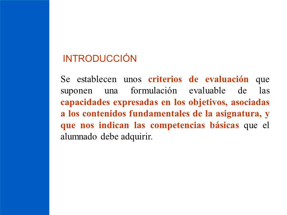 INTRODUCCIÓN Se establecen unos criterios de evaluación que suponen una formulación evaluable de las capacidades expresadas en los objetivos, asociada