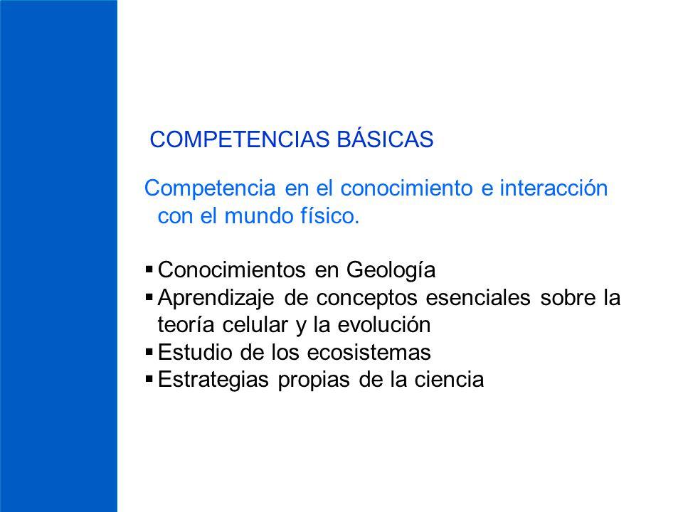 COMPETENCIAS BÁSICAS Competencia en el conocimiento e interacción con el mundo físico. Conocimientos en Geología Aprendizaje de conceptos esenciales s