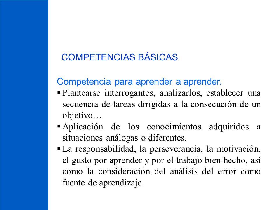 COMPETENCIAS BÁSICAS Competencia para aprender a aprender. Plantearse interrogantes, analizarlos, establecer una secuencia de tareas dirigidas a la co