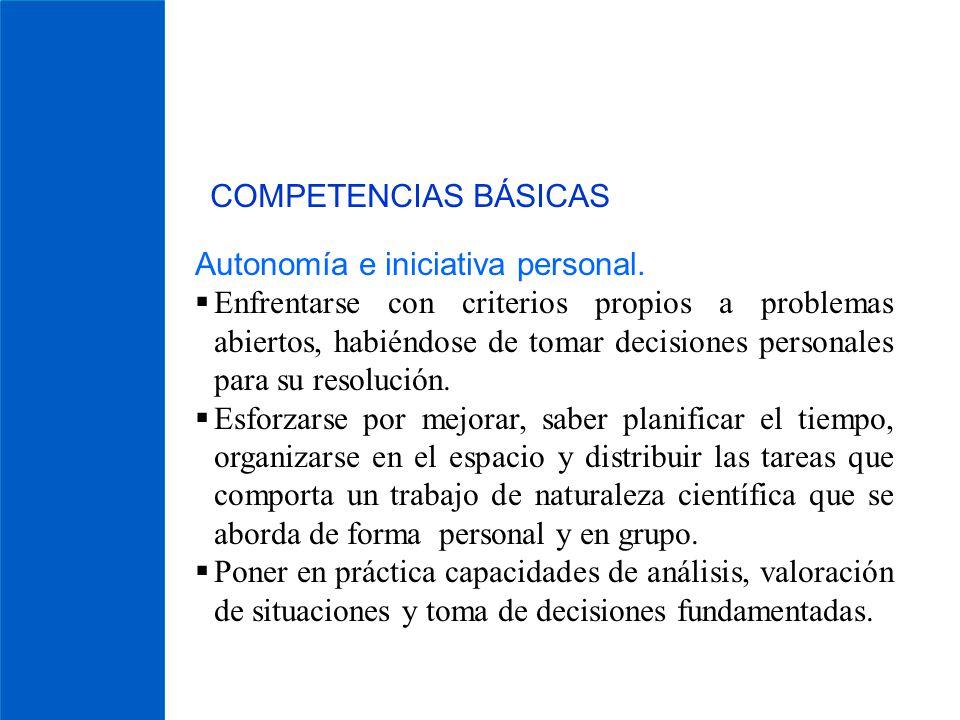 COMPETENCIAS BÁSICAS Autonomía e iniciativa personal. Enfrentarse con criterios propios a problemas abiertos, habiéndose de tomar decisiones personale