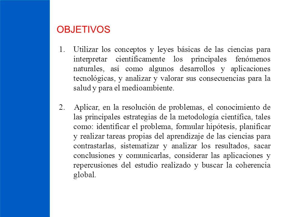 OBJETIVOS 1.Utilizar los conceptos y leyes básicas de las ciencias para interpretar científicamente los principales fenómenos naturales, así como algu