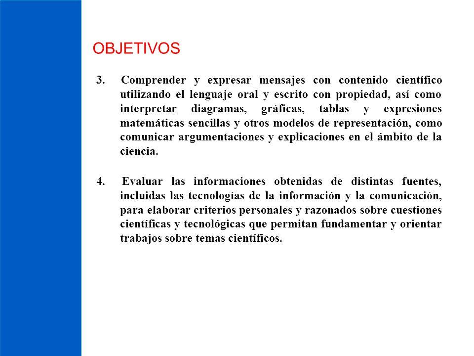 OBJETIVOS 3. Comprender y expresar mensajes con contenido científico utilizando el lenguaje oral y escrito con propiedad, así como interpretar diagram