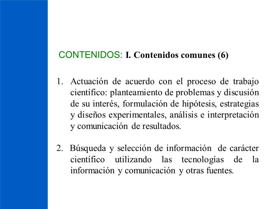 CONTENIDOS: I. Contenidos comunes (6) 1.Actuación de acuerdo con el proceso de trabajo científico: planteamiento de problemas y discusión de su interé