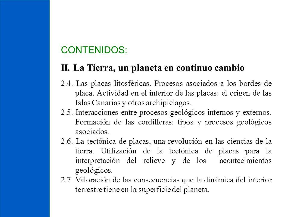 CONTENIDOS: II. La Tierra, un planeta en continuo cambio 2.4. Las placas litosféricas. Procesos asociados a los bordes de placa. Actividad en el inter