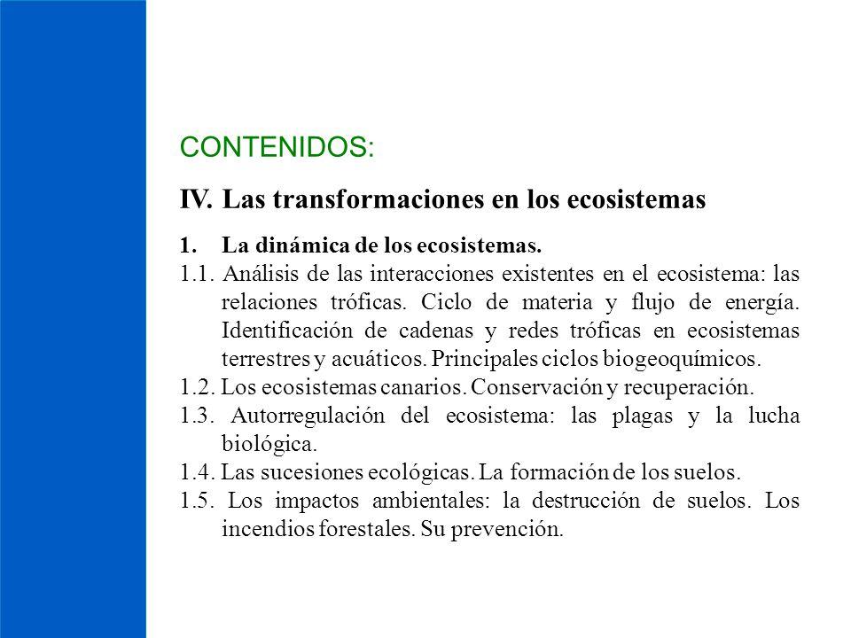 CONTENIDOS: IV. Las transformaciones en los ecosistemas 1.La dinámica de los ecosistemas. 1.1. Análisis de las interacciones existentes en el ecosiste