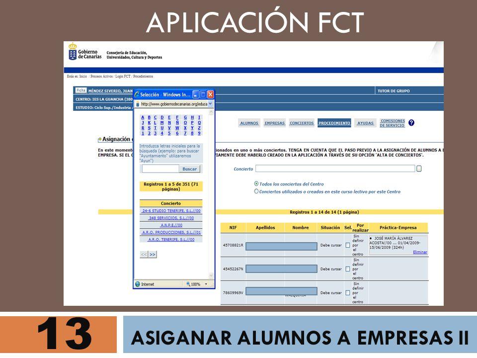 13 ASIGANAR ALUMNOS A EMPRESAS II APLICACIÓN FCT