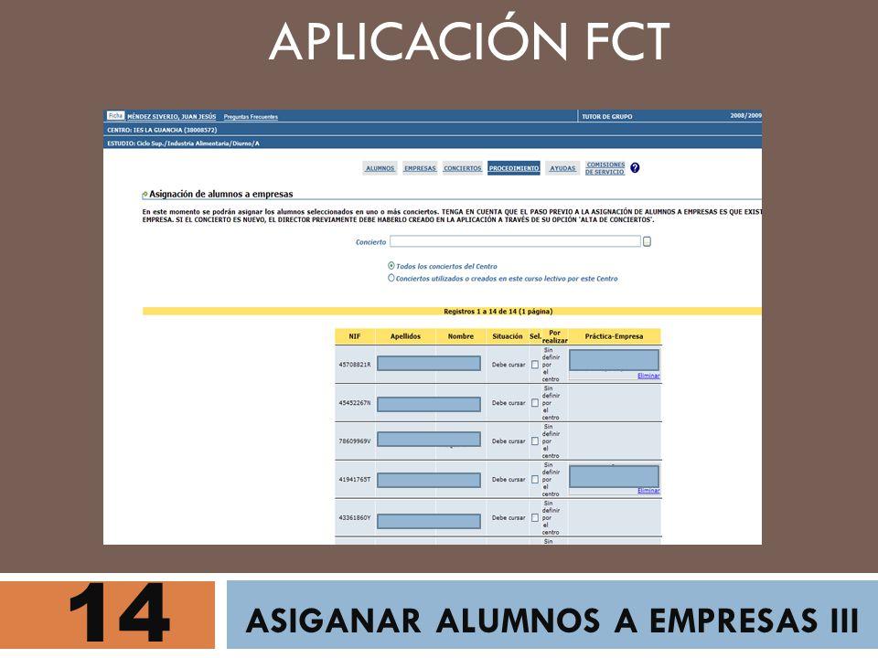 14 ASIGANAR ALUMNOS A EMPRESAS III APLICACIÓN FCT