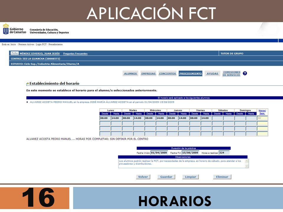 16 APLICACIÓN FCT HORARIOS