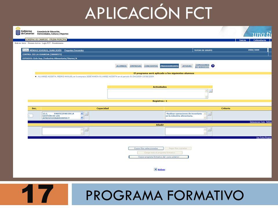 17 APLICACIÓN FCT PROGRAMA FORMATIVO