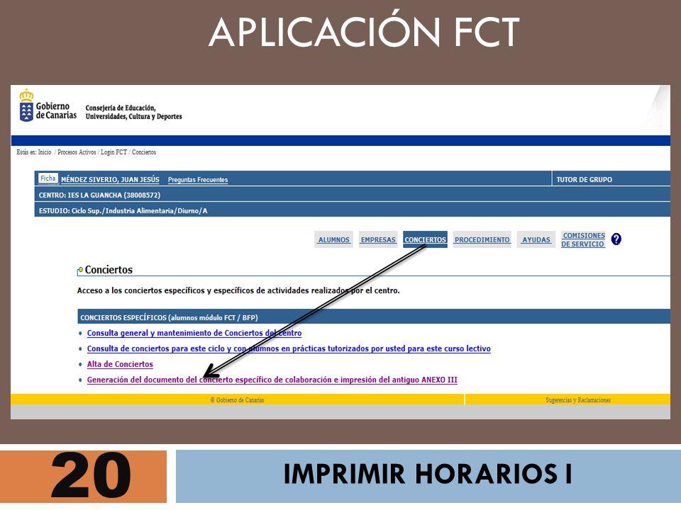 20 APLICACIÓN FCT IMPRIMIR HORARIOS I