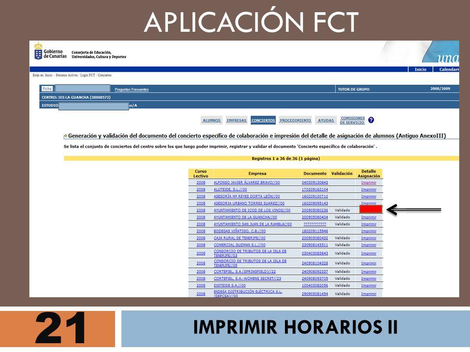 21 APLICACIÓN FCT IMPRIMIR HORARIOS II