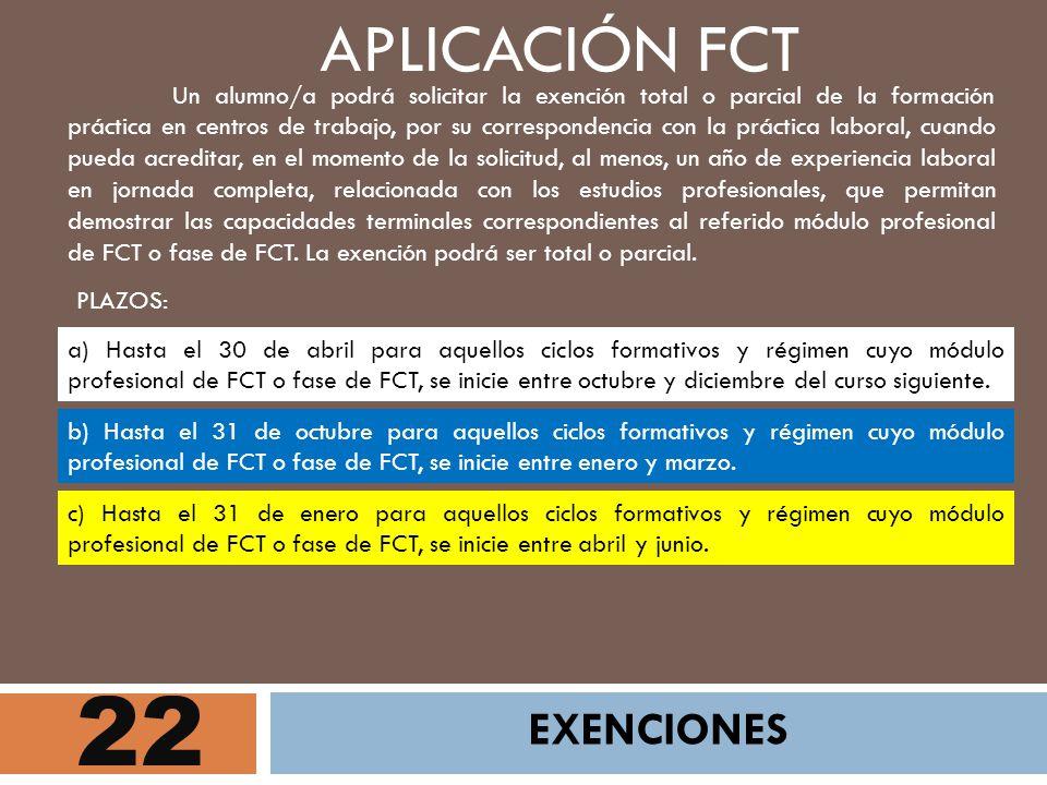 22 APLICACIÓN FCT EXENCIONES PLAZOS: Un alumno/a podrá solicitar la exención total o parcial de la formación práctica en centros de trabajo, por su co