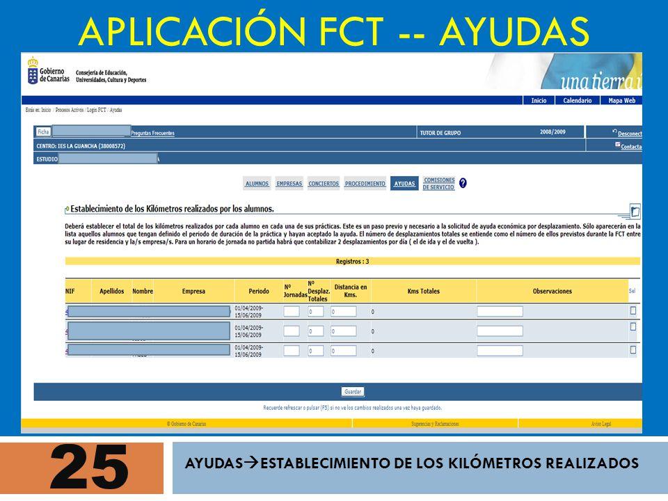 25 APLICACIÓN FCT -- AYUDAS AYUDAS ESTABLECIMIENTO DE LOS KILÓMETROS REALIZADOS