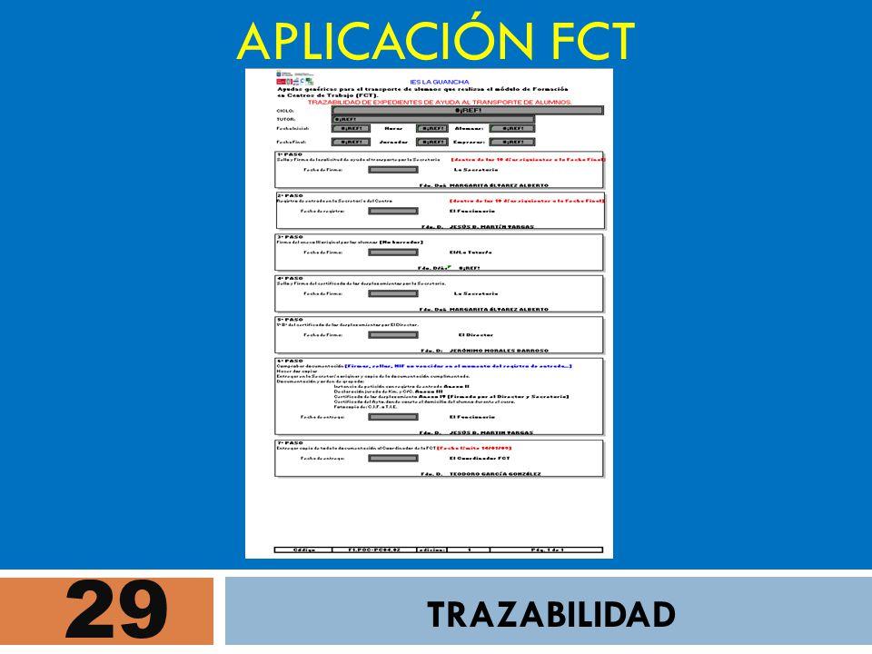 29 APLICACIÓN FCT TRAZABILIDAD
