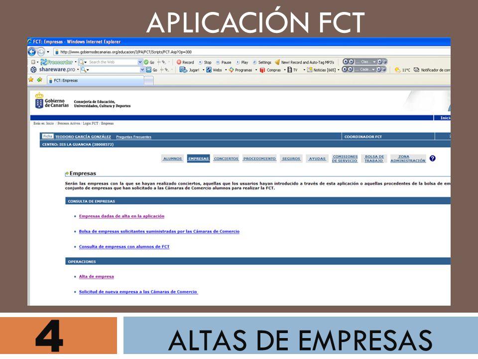 4 ALTAS DE EMPRESAS APLICACIÓN FCT