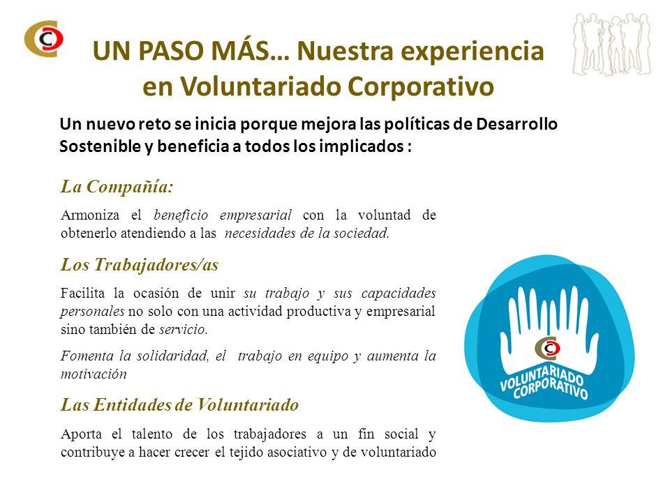 UN PASO MÁS… Nuestra experiencia en Voluntariado Corporativo Un nuevo reto se inicia porque mejora las políticas de Desarrollo Sostenible y beneficia