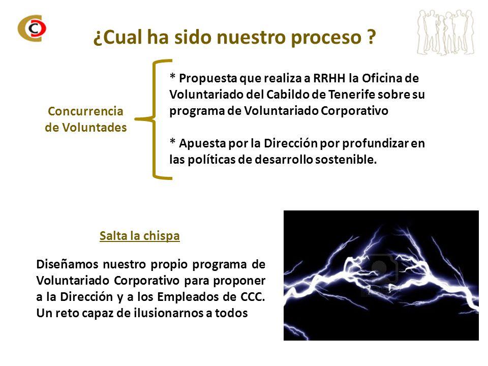 ¿Cual ha sido nuestro proceso ? * Propuesta que realiza a RRHH la Oficina de Voluntariado del Cabildo de Tenerife sobre su programa de Voluntariado Co