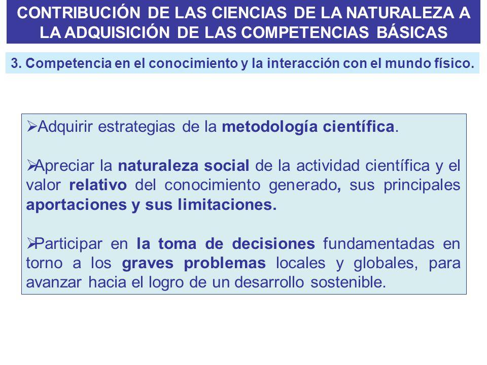 CONTRIBUCIÓN DE LAS CIENCIAS DE LA NATURALEZA A LA ADQUISICIÓN DE LAS COMPETENCIAS BÁSICAS Adquirir estrategias de la metodología científica. Apreciar