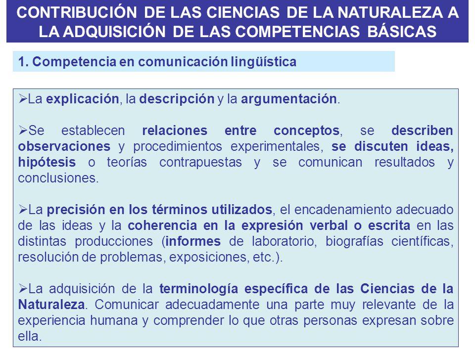 La explicación, la descripción y la argumentación. Se establecen relaciones entre conceptos, se describen observaciones y procedimientos experimentale