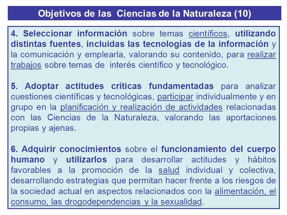Objetivos de las Ciencias de la Naturaleza (10) 4. Seleccionar información sobre temas científicos, utilizando distintas fuentes, incluidas las tecnol