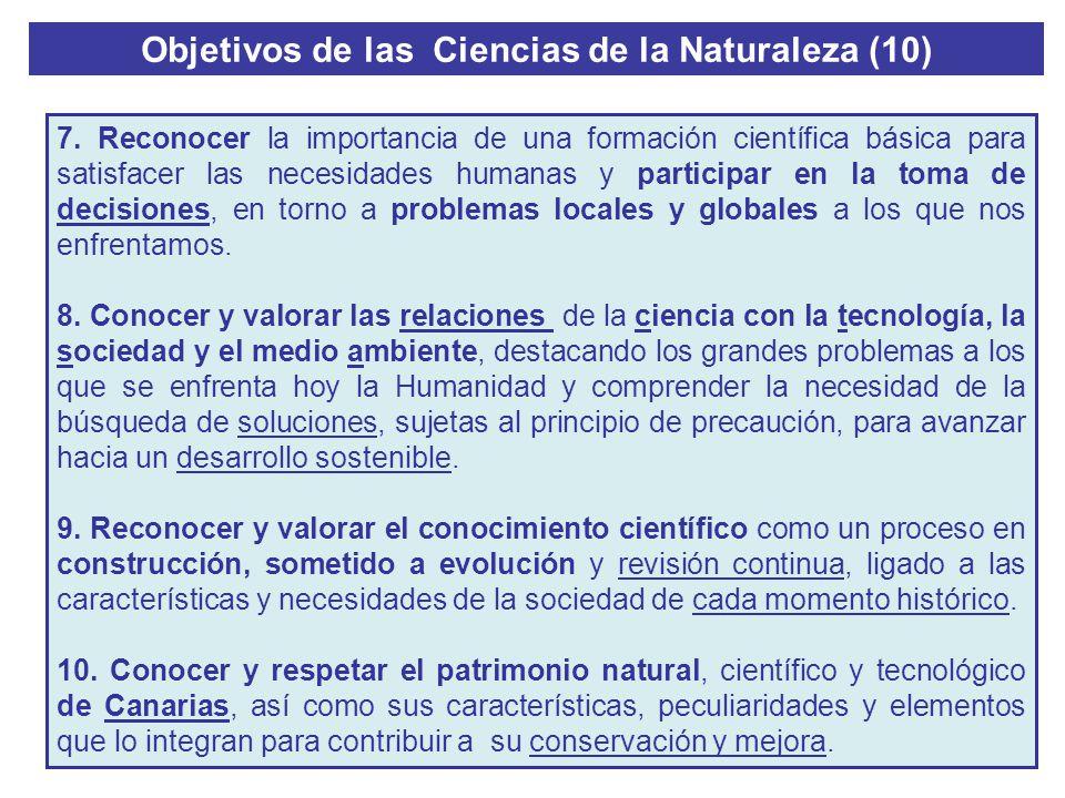 Objetivos de las Ciencias de la Naturaleza (10) 7. Reconocer la importancia de una formación científica básica para satisfacer las necesidades humanas