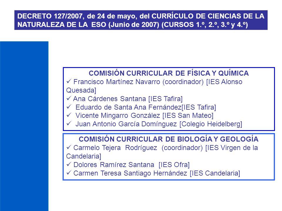 DECRETO 127/2007, de 24 de mayo, del CURRÍCULO DE CIENCIAS DE LA NATURALEZA DE LA ESO (Junio de 2007) (CURSOS 1.º, 2.º, 3.º y 4.º) COMISIÓN CURRICULAR